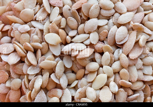 Almonds of the Argan (Argania spinosa) nuts from the region of Essaouira, Morocco, Africa - Stock Image