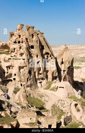 The Rock Castle of Uchisar, Cappadocia, Turkey - Stock Image