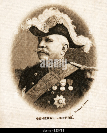 A 1915  George V  Silk Print of French General Joseph Jacques Césaire Joffre FOR EDITORIAL USE ONLY - Stock Image