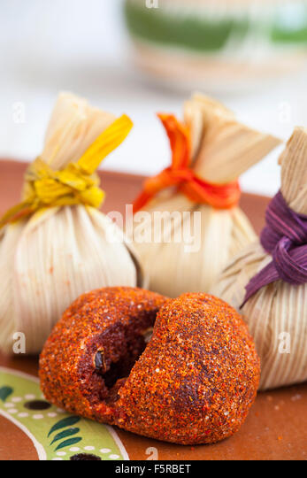 A piece of tamarind candy with chile powder in Morelia, Michoacan, Mexico. - Stock Image
