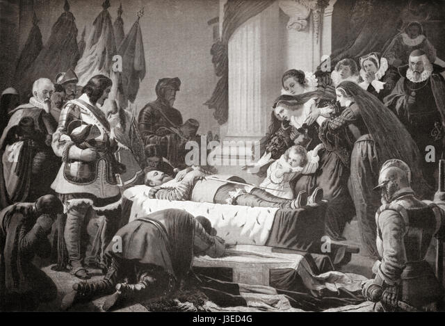 The grief of Maria Eleonora of Brandenburg at the lying- in-state of her deceased husband Gustav II Adolf, 1632. - Stock Image