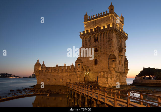 Belem Tower in Lisbon, Portugal ( Torre de Belem or the Tower of St Vincent). It is a UNESCO World Heritage Site - Stock Image