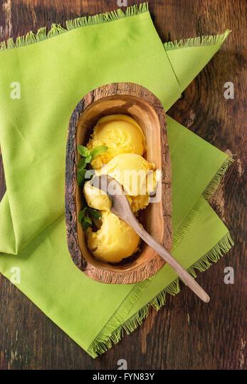 Mango ice cream - Stock Image