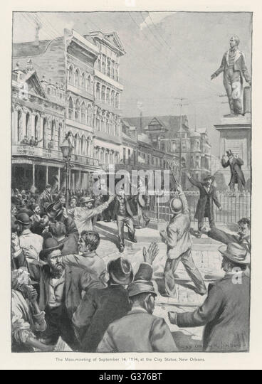 Riots in New Orleans, against  the treatment of the South by  the Federal government, lead  to violence and intervention - Stock Image