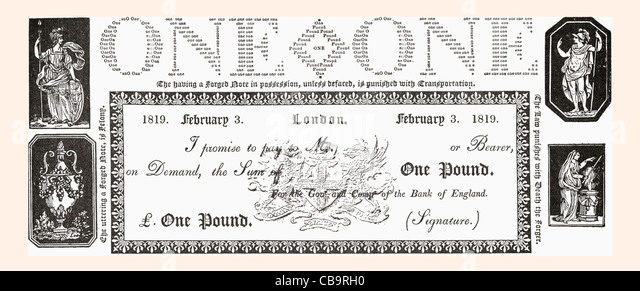 An 1819 English One Pound Note. - Stock Image