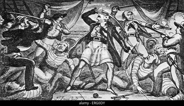 'Fight on a Pirate Ship', print. Pirates fighting with swords on the deck of a ship. - Stock Image