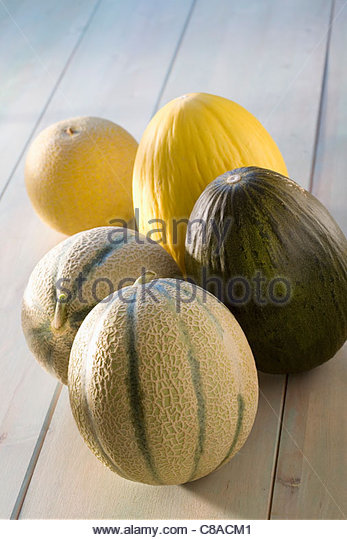 Selection of whole melons - Stock Image
