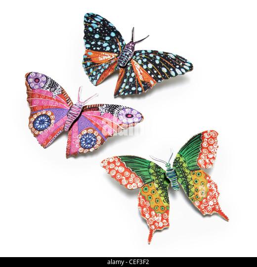 3 butterfly broaches enamel - Stock Image
