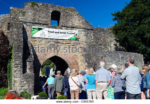People queuing to get in to the Ludlow food festival, Shropshire, UK. - Stock Image