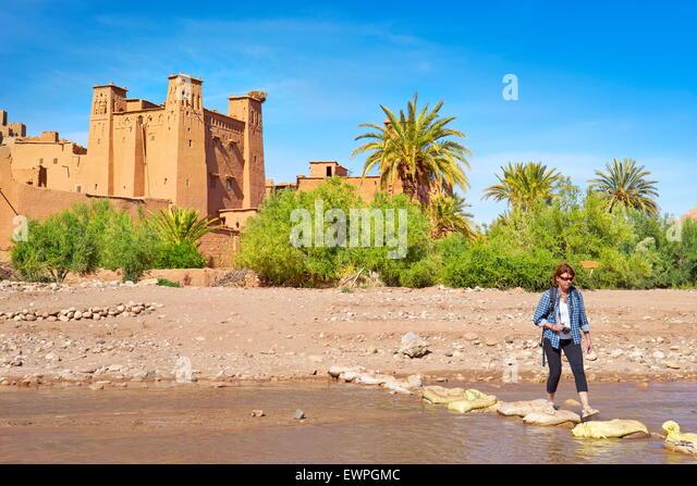 Ait Benhaddou fortress near Ouarzazate, Morocco - Stock Image