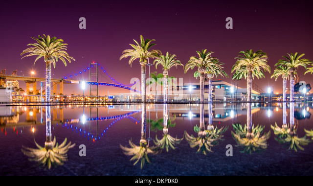 Vincent Thomas Bridge and Palm Tree reflections in San Pedro, Los Angeles, California. - Stock Image