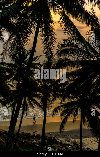 Incredible indian beaches, Black Beach, Varkala. Kerala, India. - Stock-Bilder