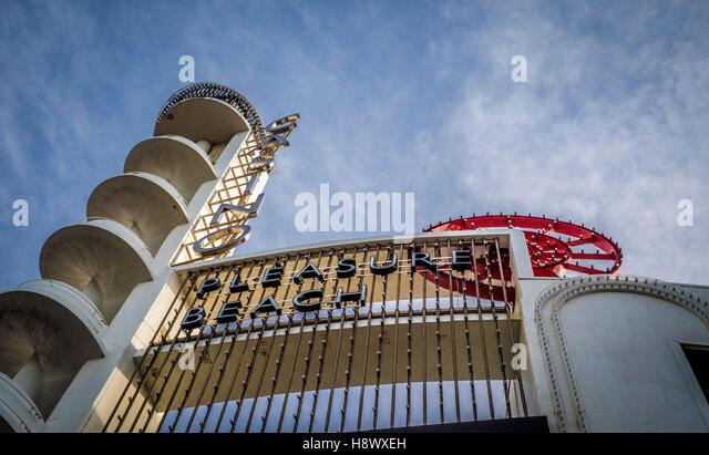 Casino and Pleasure Beach sign, Blackpool, Lancashire, UK. - Stock Image