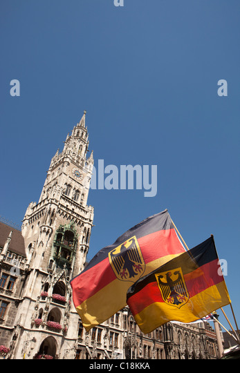 City hall tower on Marienplatz Munich - Stock Image
