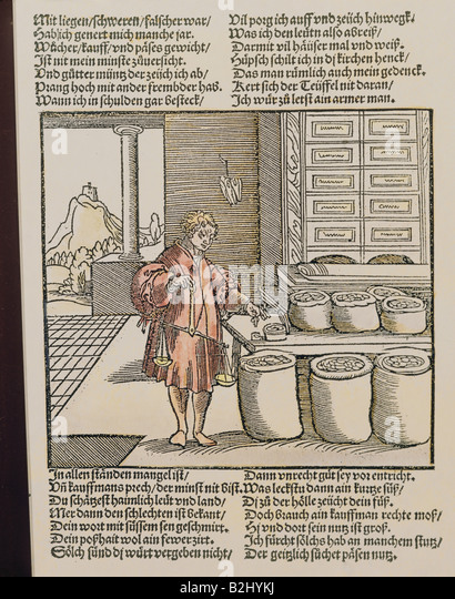 trade, merchants, 'Der betruegerische Kaufmann' (The deceitful merchant) from 'Der Teutsch Cicero' - Stock Image