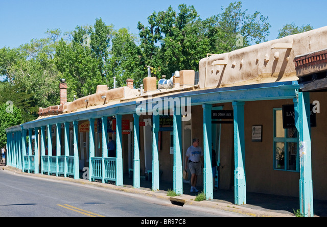 Adobe architecture Of Santa Fe New Mexico - Stock Image
