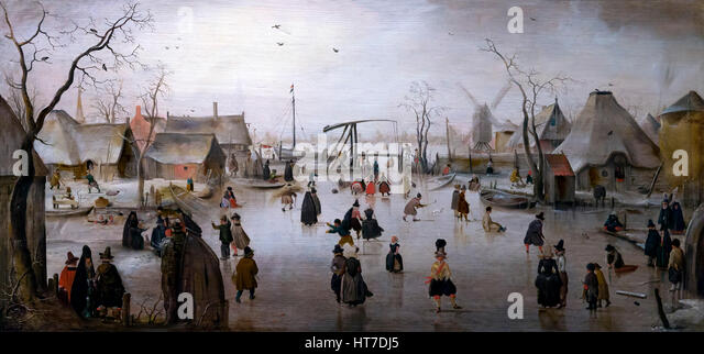 Ice Scene, by Hendrick Avercamp, circa 1610, Royal Art Gallery, Mauritshuis Museum, The Hague, Netherlands, Europe - Stock Image