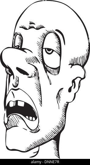 Head of sleepy guy. Vinyl-ready EPS Illustration, black and white sketch. - Stock-Bilder