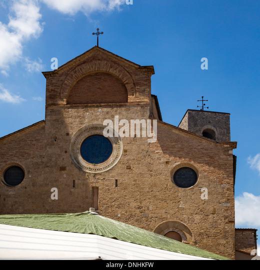 Church, Collegiate Church of San Gimignano, Piazza Del Duomo, San Gimignano, Siena, Siena Province, Tuscany, Italy - Stock-Bilder