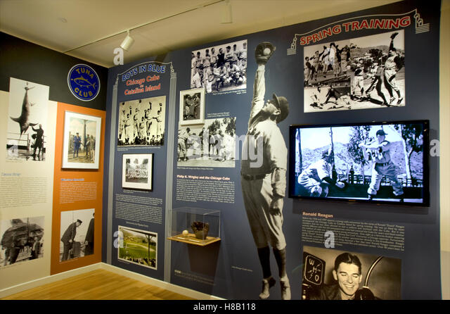 Display about the Chicago Cubs Spring Training baseball at the Catalina Island Museum - Stock-Bilder