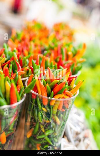 vegetables, farmers market, chillies,malaguetas - Stock Image