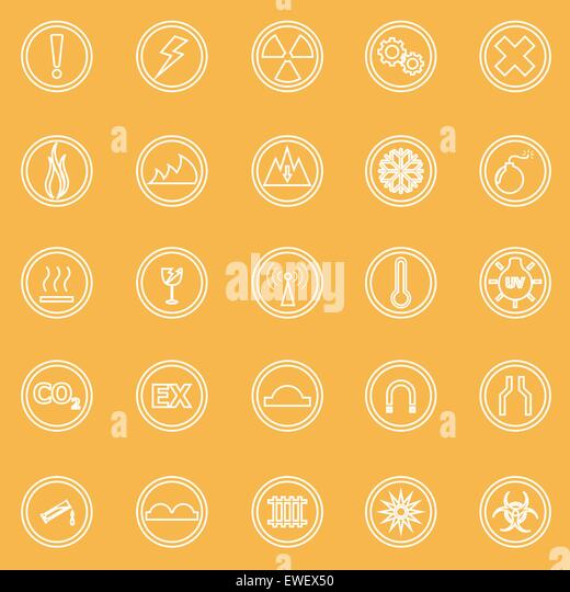 Warning sign line icons on yellow background, stock vector - Stock-Bilder