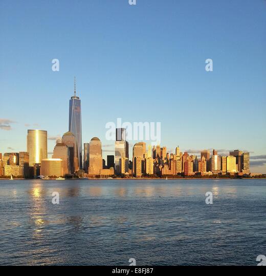 City skyline with Freedom Tower, Manhattan, America, USA - Stock Image