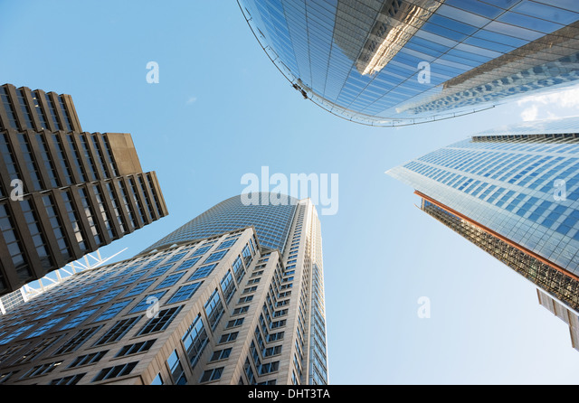 view to the sky surrounded by skyscrapers of Sydney - Stock Image