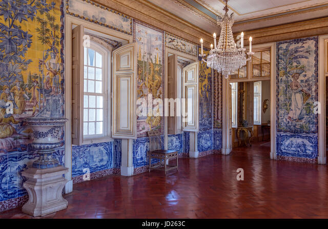 The National Palace of Queluz - Lisbon - Portugal. The Sala de Mangas decorated with tile panels illustrating the - Stock Image