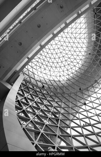 Geometric ceiling - abstract architectural background. Black and white image - Stock Image
