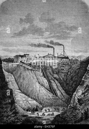 Limmer asphalt plant in Hannover, Hanover, Lower Saxony, Germany, woodcut, historical engraving, 1882, Europe - Stock Image