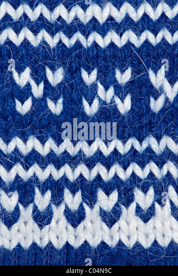 Knitting background of handmade woolen pattern - Stock Image