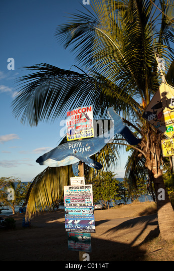 Sign marking the famous surf beach Las Marias in Rincon Puerto Rico - Stock Image