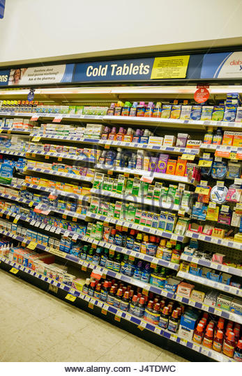 Miami Beach Florida Fifth 5th Street Walgreens pharmacy drug store chain business product display brand cold tablet - Stock Image