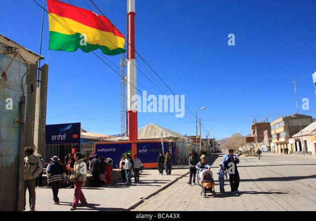 Everyday life on a square in Uyuni Bolivia - Stock-Bilder