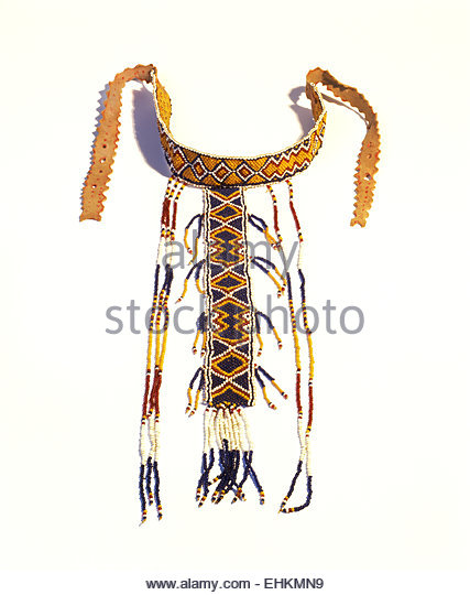 Western Apache girl's puberty ceremony T-shaped beaded necklace. Arizona, USA. - Stock Image