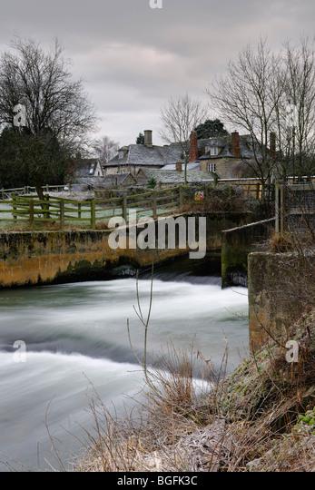 Winter Weir, River Avon - Great Somerford - England. - Stock Image