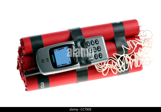Symbol picture, time bomb. Bomb remote controlled explosive device, released by a mobile phone, timer or incoming - Stock Image