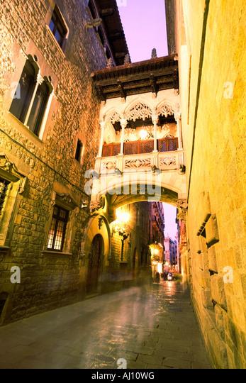 Barcelona Barri Gotic Carrer del Bisbe at twilight - Stock Image