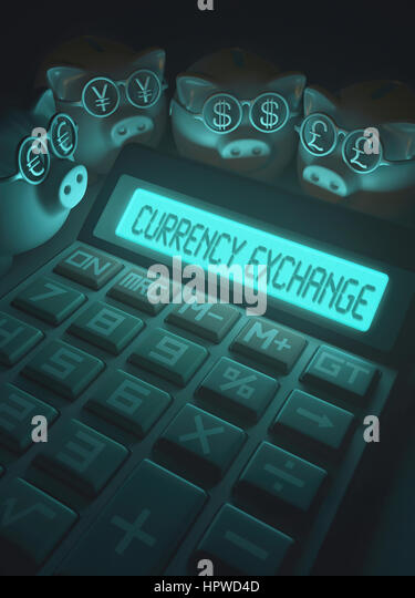 Calculator with currency exchange and piggy banks, illustration. - Stock-Bilder