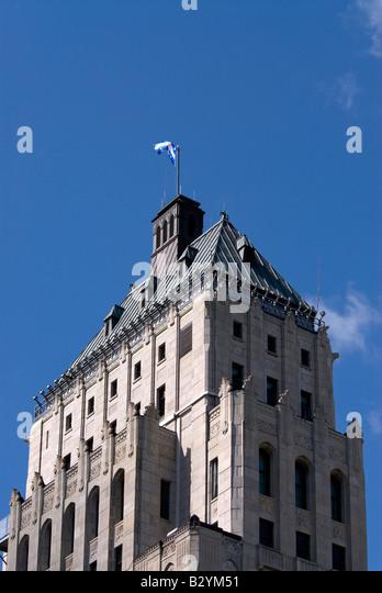Quebec Canada old city quebec flag municipal building iconic quebec symbol - Stock Image