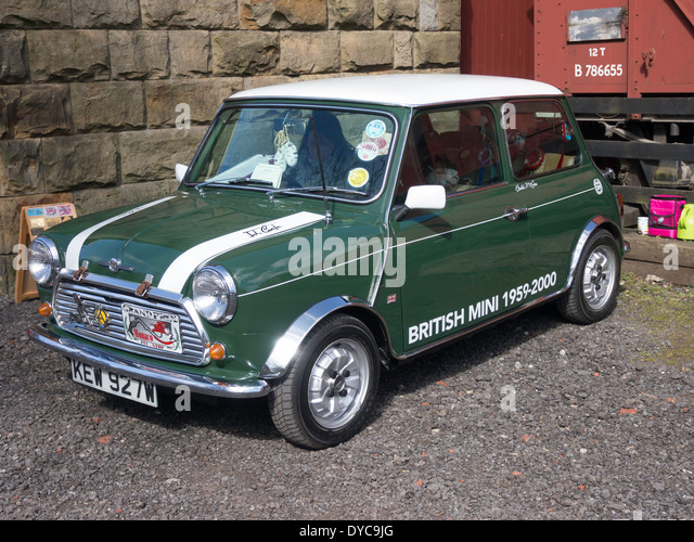 A classic 1981 BMC Mini Cooper Rally car at an Historic Motor Gathering in April 2014 at Goathland Station North - Stock Image