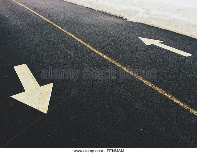 Arrow Signs On Road - Stock Image