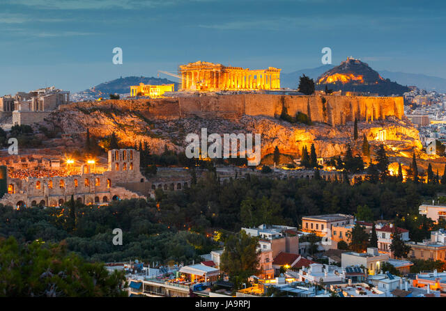 Acropolis and Parthenon temple in the city of Athens, Greece. - Stock Image