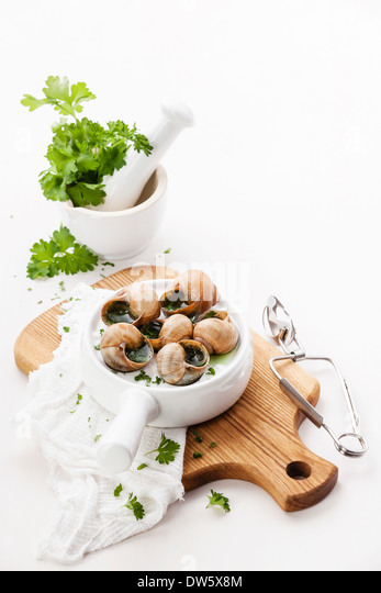Baked snails with garlic butter sauce and fresh greens - Stock Image