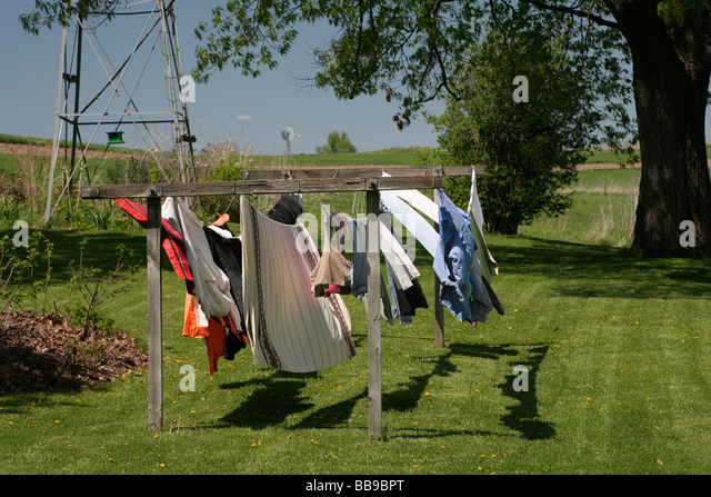 Farm wash day in spring, a low carbon footprint alternative - Stock Image