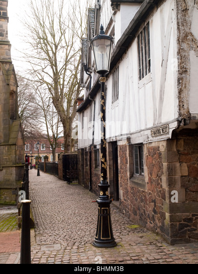 A lane by the Guildhall on St Martin's West in Leicester City Centre, Leicestershire England UK - Stock Image