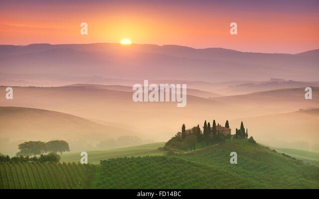 Tuscany landscape at sunrise, Val d'orcia, Italy - Stock Image
