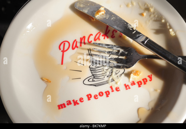 Empty plate for pancakes, knife and fork, syrup- pancakes make people happy - Stock Image