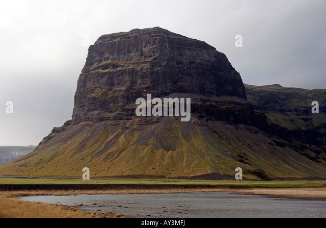 Table mountain along the ring road (Route 1) in southern Iceland - Stock Image